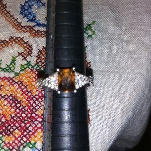 Size 7 smoky topaz with white sapphires 925